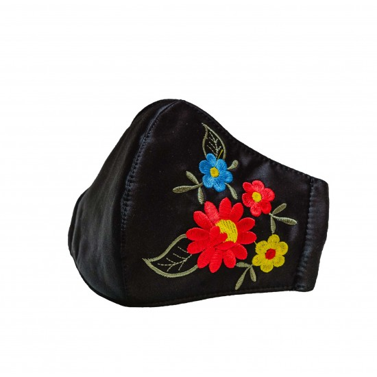 Embroidered face mask red flowers