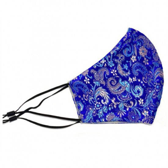 Navy blue face mask with silver brocade
