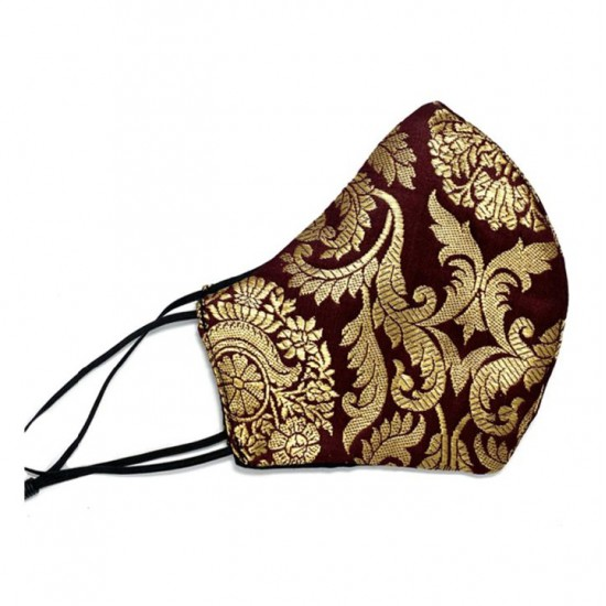 Brown face mask with golden brocade