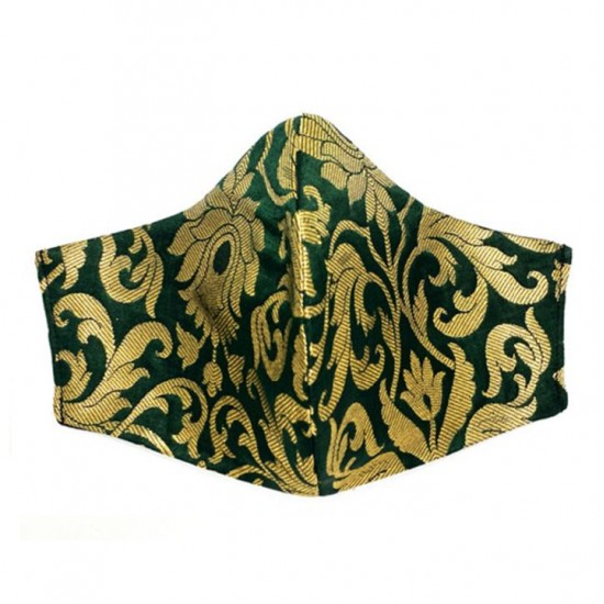 Green face mask with golden brocade