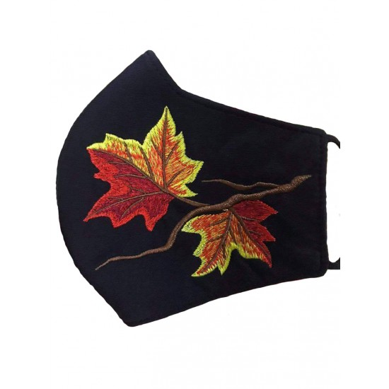 Embroidered face mask autumn leaves