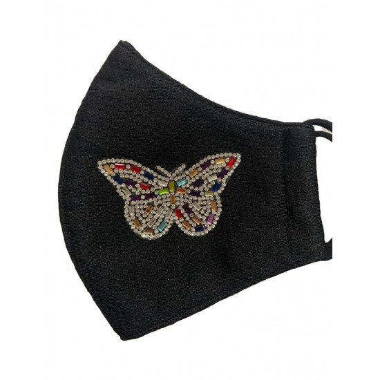 Embroidered face mask butterfly