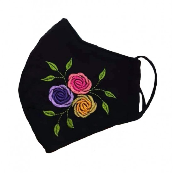 Embroidered face mask colorful flowers