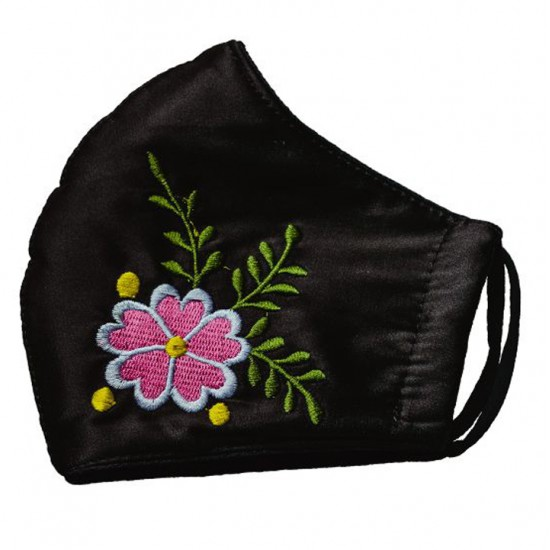 Embroidered face mask pink flowers