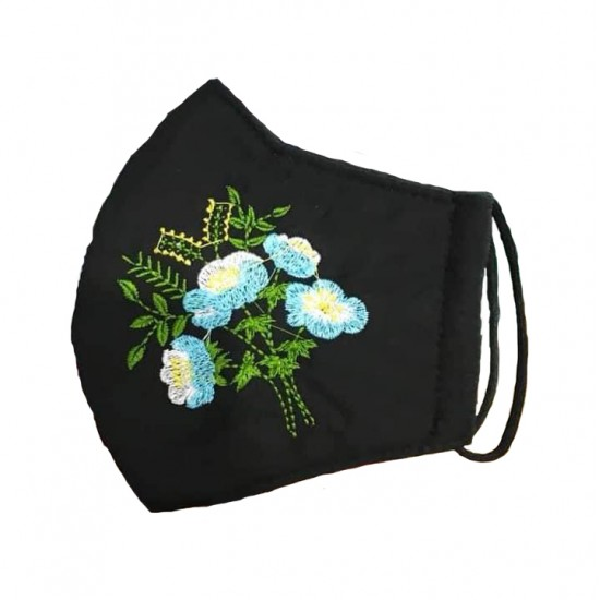 Embroidered face mask sky blue flowers
