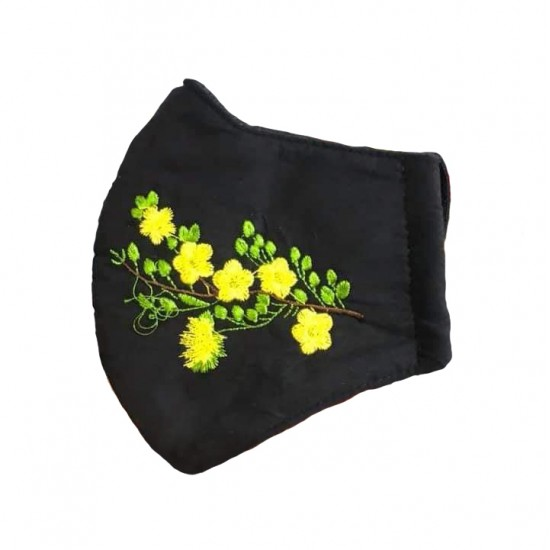 Embroidered face mask yellow flowers
