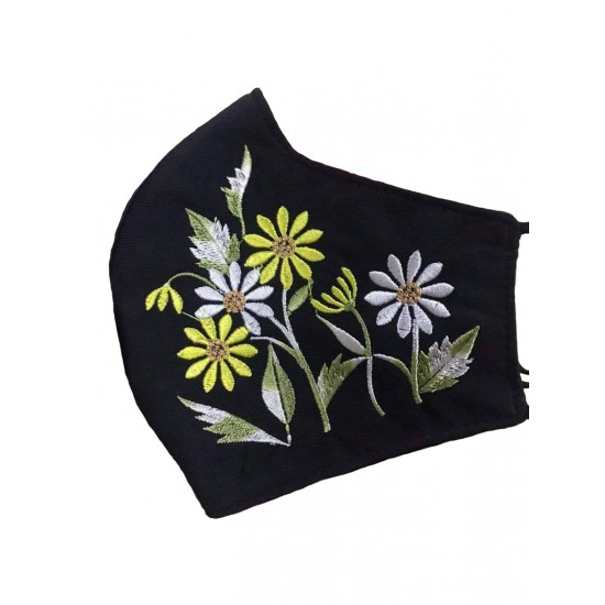 Embroidered face mask sunflowers