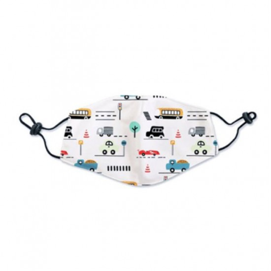 Kids washable face mask white with cars drawings